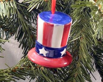 Ceramic Christmas Ornament Americana Hat