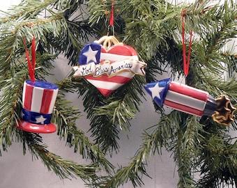 Ceramic Christmas Ornament Patriotic Set of 3