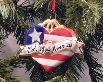 Ceramic Christmas Ornament Patriotic Heart