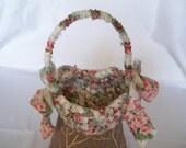 Basket, Crocheted Rag, Heart Shaped
