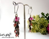Defoliation...Copper leave chain, Czech glass butterflies and ruby Swarovski earrings