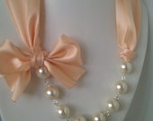 Lingerie and Pearls...with creamy glass pearls and a beautiful nude satin ribbon