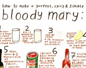 Bloody Mary Recipe - 8 x 10 Print -