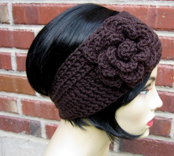 Items similar to Crocheted Flower Headband / Earwarmer in Espresso Size 5T - Adult - Charity ...