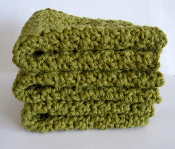 Cotton Crocheted Washcloths - set of 3 - Sage Green