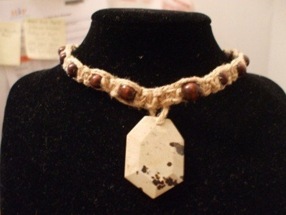 Thick Hemp Necklace with Stone Pendant and Wood Beads