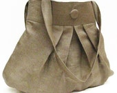 Large Pleated Purse in Linen Herringbone Weave