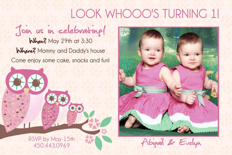 Twins 1st Birthday Invitation YOU PRINT