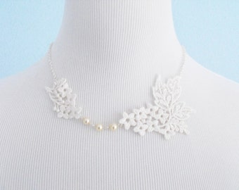 Ivory Lace Necklace With Peals and Silver Chain