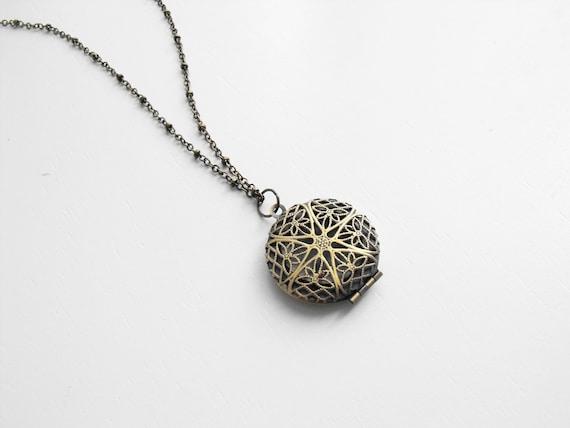 Brass Filigree Locket Necklace