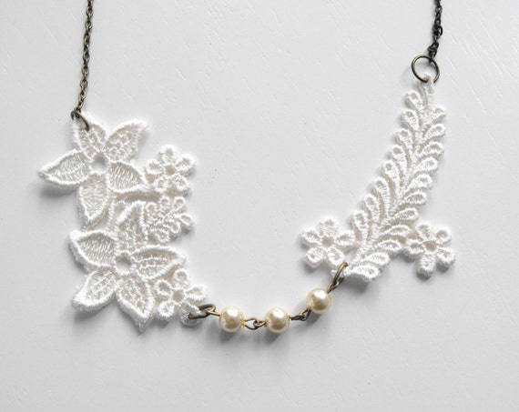 Sweetheart Ivory Lace Necklace Brass Chain Bridal Wedding