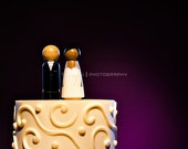 Personalized Wood Peg Doll Wedding Cake Topper