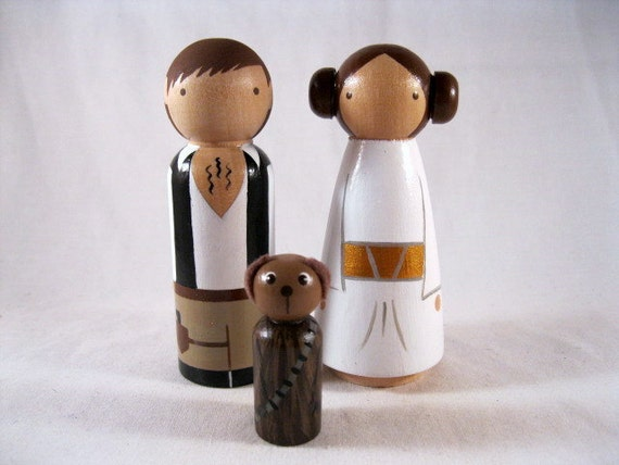Princess Leia Han Solo and Chewie Dog Wood Peg Doll Cake Toppers
