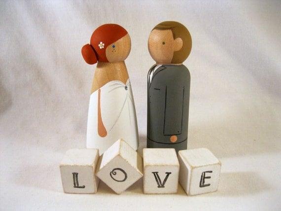 SEMI CUSTOM Peg Doll Wedding Cake Topper With L-O-V-E Blocks - Ships in 2 weeks