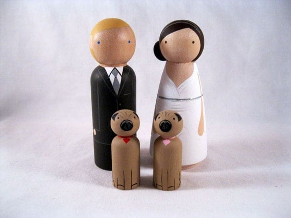 Personalized Peg Doll Wedding Cake topper with 2 pets