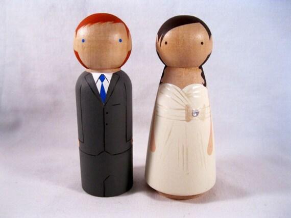 Custom Peg Doll Wedding Cake Topper