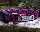 Dog Collar- Skull and Bones Purple