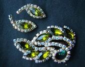 Vintage Emerald Peridot Glass Aurora Borealis Brooch/ Earring Set