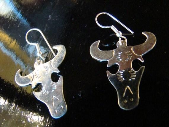 Silver LONGHORN Earrings