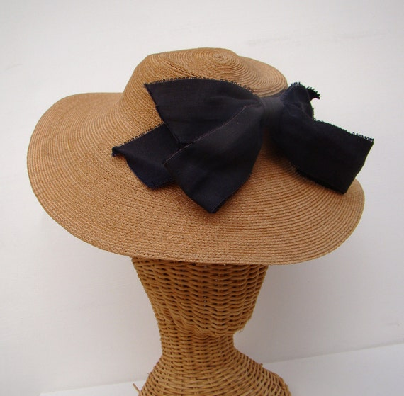 RESERVED 1940s Floppy Straw Boater/ Sun Hat / Black Bow / 22