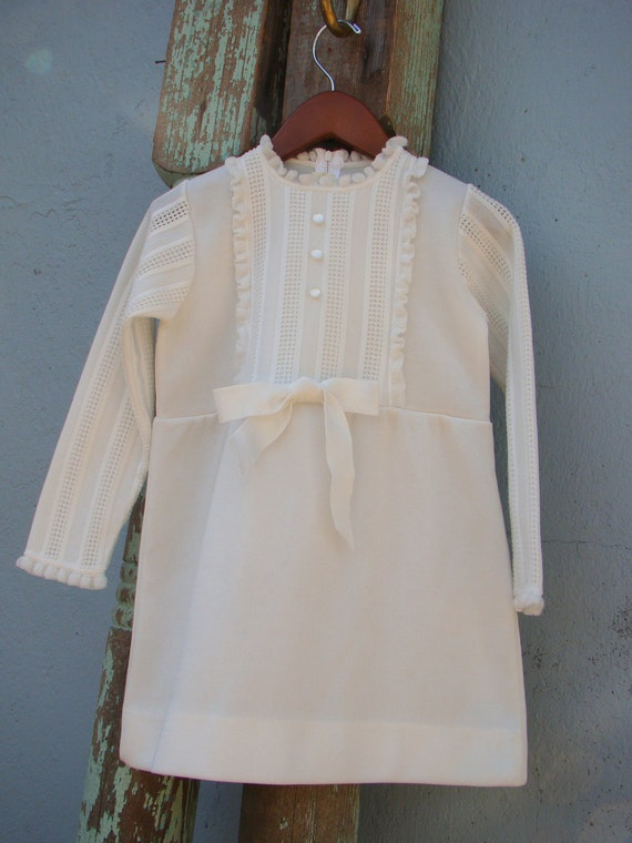 Vintage Babyboll Tunic Dress / White Poly Knit / Petite Ruffles/ Size 5- 6