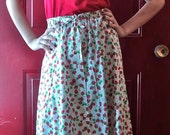 "Vintage 80's does 40's "" Strawberry Fields Forever""  summer skirt size s m"
