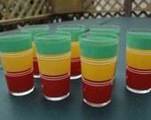 "Vintage 1950's  lot of 7 "" Retro Kitchen ""  striped  drink glasses"