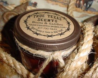 Boots 'n Saddles (Leather scent) 4 oz Mason Jar Western Cowboy Candle