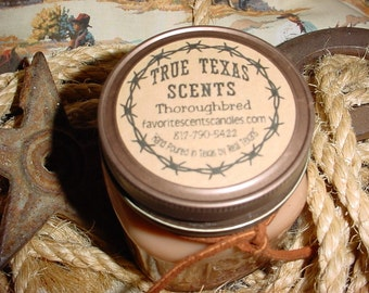 Thoroughbred (Ralph Lauren dupe) - 8 oz Square Mason Jar Western Cowboy Candle