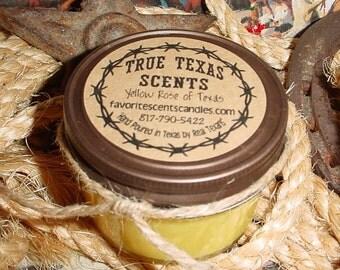 Tart & Sassy (lemon sugar) - 4 oz western cowboy mason jar candle