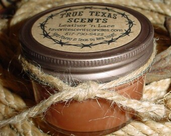 Rawhide Scented Candle (leather & musk) 4 oz Mason Jar Western Cowboy Candle