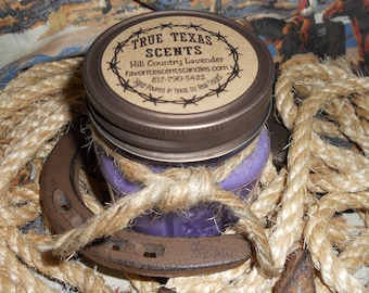 Lavender in Hill Country, Tx - 8 oz Western Texas Cowboy Mason Jar Candle