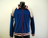 Vintage Track Sweatshirt Jacket Red Gray Blue 80s Coat Sports Running LARGE