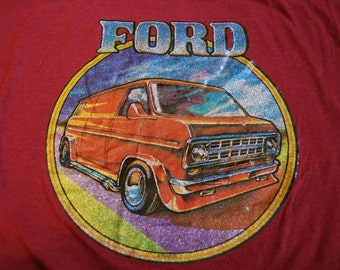 Vintage TShirt Mens Medium Small FORD VAN old school funky Glitter Metallic Iron On 70s style RARE SOft Feeln Shirt