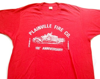 Vintage Tee Bright Red 1985 Plainville CT Fire Dept LARGE