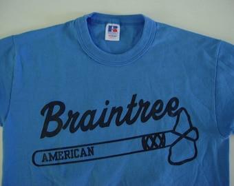 SALE Vintage Tshirt Tee Braintree MA American Braves Shirt  Muted Blue Ladies SMALL