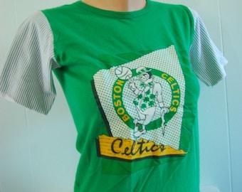 Rare Celtics TShirt 80s Vintage Boston Basketball Tee Green SMALL XS