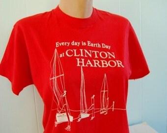 Vintage Tshirt Clinton Harbor CT Earth Day Super Soft n Thin Bright Red MEDIUM