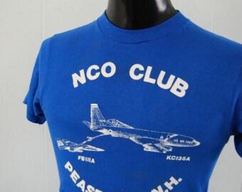 Vintage Military TShirt Air Force Base NH NCO Airplane Royal Blue SMALL