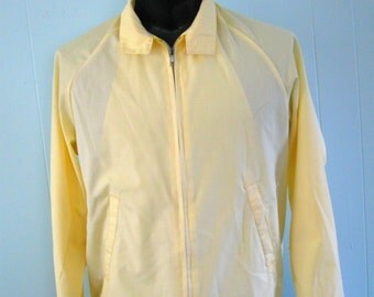 Vintage Vacation Jacket 60s 70s Mechanic Knit Wind Breaker Light Yellow Medium