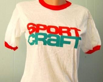 UNWORN Vintage Sport Craft Tshirt Authentic 80's Red n White Ringer Tee SMALL
