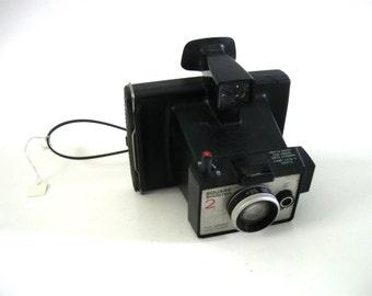 70s Vintage Polaroid Land Camara Square Shooter 2 Plastic  Black Silver Cool Design Nice Display Piece