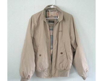 SALE Jacket Vintage Beige Plaid 80s 1980s Tan Brown Coat Spring Fall Ladies Mens SMALL