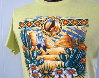 Vintage TShirt Native American Arizona Southwest Indian Coyote Cactus Desert Faded Yellow MEDIUM
