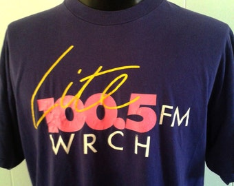Vintage 90s Neon Tee Radio WRCH Boston MA New England Purple Pink TShirt XL