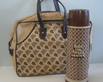 SALE Large Thermos with Carrying Bag Pipers Scotch Bowling Picnic Whiskey Beige Brown 70s