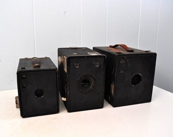 Instant Collection of 3 Antique Kodak Brownie Camera Lot of Early 1900s Worn and Aged ALL 3