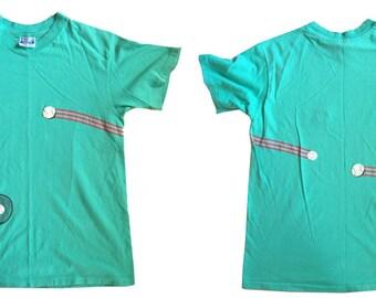 Vintage Tshirt Mens Medium Rare Light Green Tennis Double Sided Awesome Rad Tee 80s