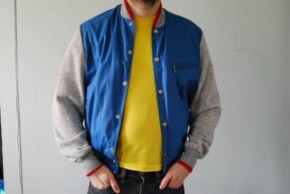 Sweet Red Blue and Gray Windbreaker Sweatshirt Jacket Mens Large Medium