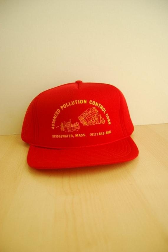 Vintage Advanced Pollution Control Baseball Cap 80s Mesh Trucker Hat Bright Red